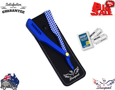 "Straight Cut Throat Blue Shaving Razor Barber Salon Sharpend ""10 Free Blades"