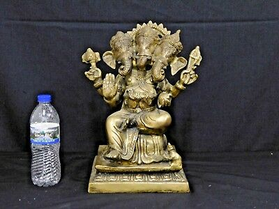 Large Heavy Seated Solid Brass or Bronze Ganesh Statue