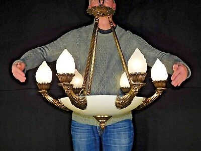 Antique Empire Neoclassical Brass Bronze Muse Northwind Flame Globe Chandelier