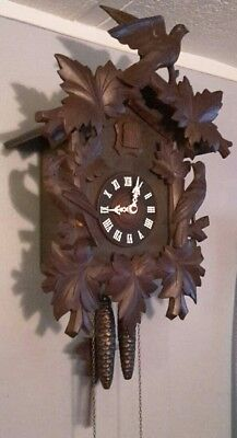 LARGE Antique Black Forest Cuckoo Clock with Wood Bird