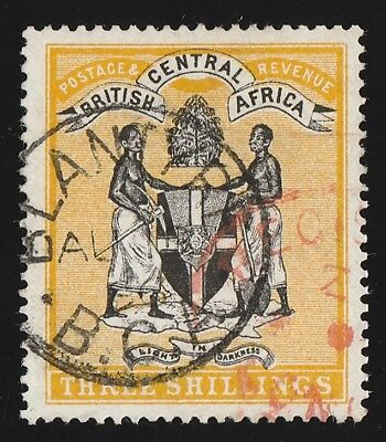 BRITISH CENTRAL AFRICA 1895 Arms 3/- black & yellow, no wmk.