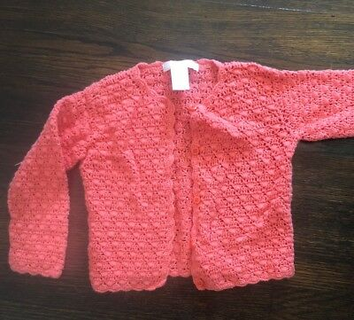 Janie And Jack Coral Sweater Cardigan 12-18