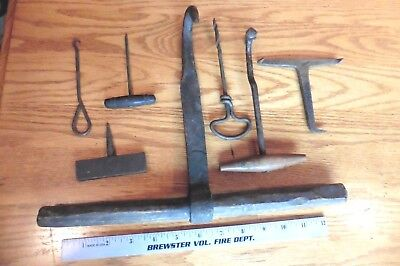Lot of Vintage Tools Hand made wrought iron & wood hooks drill lifting Primitive