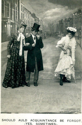 Funny RPPC c1907-'15 Postcard Showing Jealous Woman, Embarrassed Man