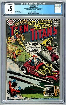 Teen Titans #3 CGC .5 Conserved/Incomplete Missing Centerfold 1966 DC