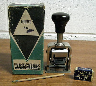 Vintage Roberts Numbering Machine Model 64 in Box w/ Stick & Emply Ink Pad Box