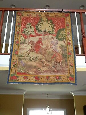 """Antique Tapestry Woven and Detail Painted French Rare 1890s 60"""" by 46"""""""