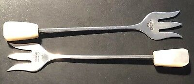 Lovely Pair Of Vintage Sterling Silver & Mother Of Pearl Pickle / Olive Forks