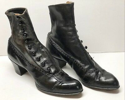 Edwardian Button Boot w/ Straight Stacked Heel 1900's