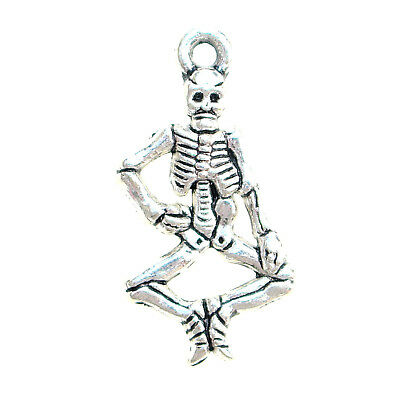 10 ANTIQUE SILVER TONE SKELETON 3D HALLOWEEN PENDANT CHARMS 26mm