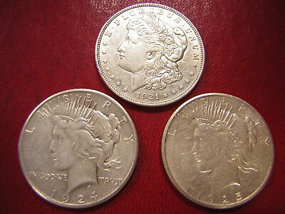 Lot of 3 Silver Dollars, Morgan & Peace   / 1921  1924-s 1925-s /U S Coins 393