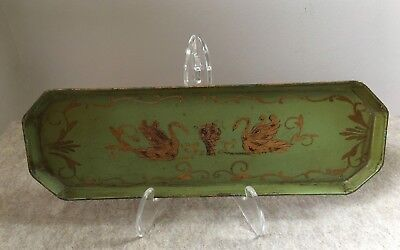 RARE Small Antique Hand Painted Metal Tray Made in France