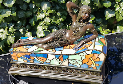 Vintage Bronze Tiffany Style Egyptian Cleopatra Lamp/Statue 14''