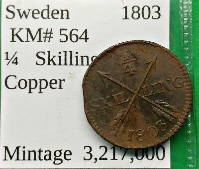 World Foreign Old Sweden 1803 Coin 1/4 Skilling KM#564 !!