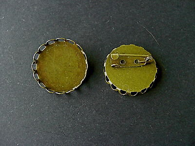 10 & 20 BRONZE TONE ROUND SINGLE EDGE CABOCHON FRAME SETTING BROOCHES Fit 25mm