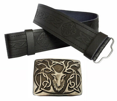 Mens Real Leather Kilt Belt Embossed Celtic Thistle Stag Antique Highland Buckle