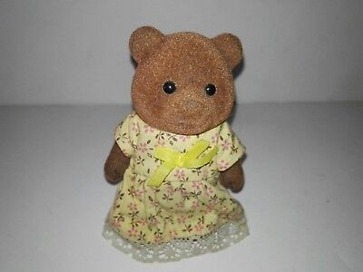 Vintage  80th Sylvanian Families) Bear with Yelow dress , Tomy