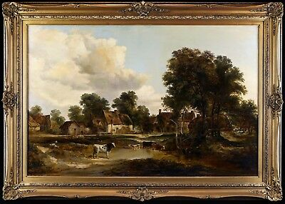 Fine Large 19th Century Landscape Antique Oil Painting with Cows & Cottages