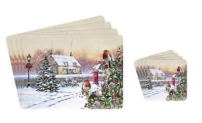 Set of 4 Christmas Snow Robins Table Place Mats With Matching Coasters