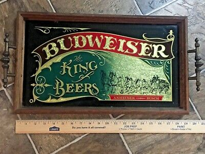Budweiser Tray Clydesdale Anheuser Busch King of Beer Wood, Glass Metal Handles