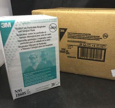 CASE OF 120 3M 1860S N95 Health Care Particulate Respirator Masks Size Small kp