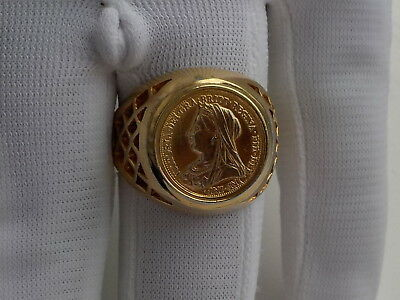 gold colour    ring with queen victoria  coin image in bezell