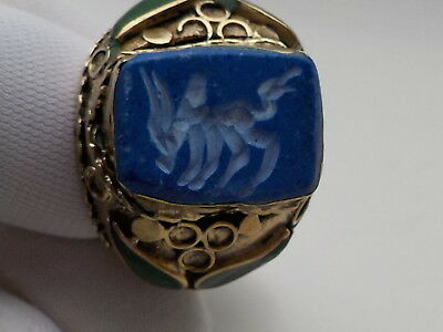 Gold Colour Ring, animal on blue stone see pictures  Metal Detecting Find