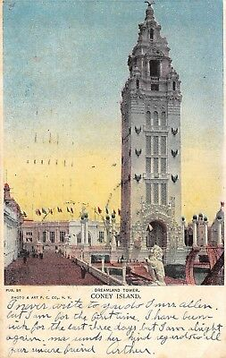 Postcard NY Coney Island Dreamland Tower Vintage New York Posted 1907 PC