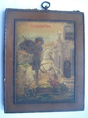 Antique 19c Russian Orthodox Printed on metal icon George the Victorious.