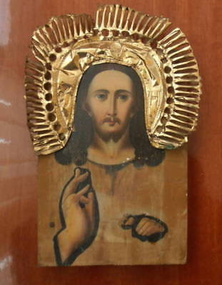Antique 19c Russian Orthodox Hand Painted on wood Icon Christ Pantocrator.