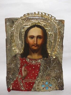 "Antique 19c Russian Orthodox Hand Painted on wood Icon ""Christ Pantocrator""."