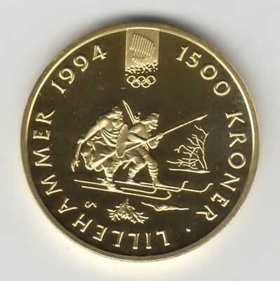 RARE ! Norway 1500 Kroner 1992 Gold Coin, PROOF - Olympic Games Lillehammer 1994