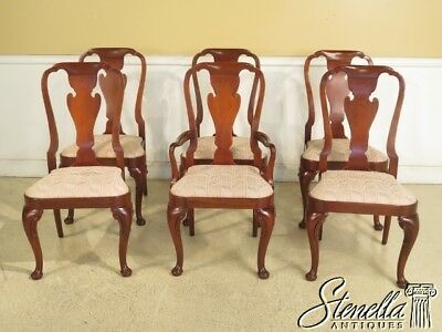 L44353EC: Set Of 6 BAKER Queen Anne Mahogany Dining Room Chairs