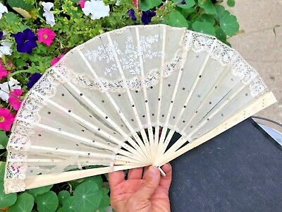 """ANTIQUE Beautiful HAND FAN Painted Chiffon Lace Sequins on Celluloid Fame 8"""""""