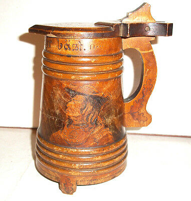 Very Rare  Antique Early 19th Century Poker work Wooden Drinking Jug c1800