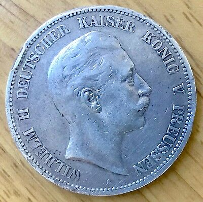 Large, German  Empire, Prussian, silver coin, Five (Funf) Mark,1900