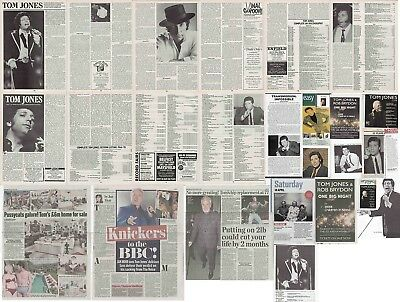 TOM JONES : CUTTINGS COLLECTION -adverts articles- clippings