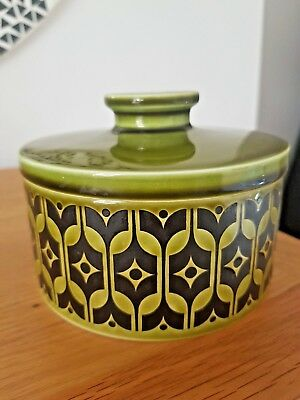 Hornsea Pottery *GREEN HEIRLOOM* Round Butter Dish - 1970s - *VERY RARE*