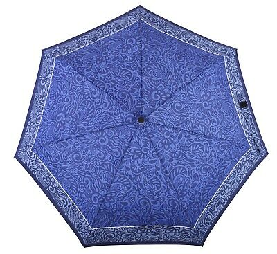 DERBY Hit mini Automatic Folding Telescopic Umbrella Flower Blue
