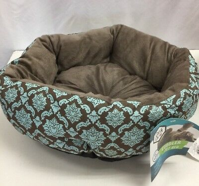"""Cat & Co. Cuddler Pet Bed, Round 15"""" Plush Cat/Small Dog Bed, Choice of color"""