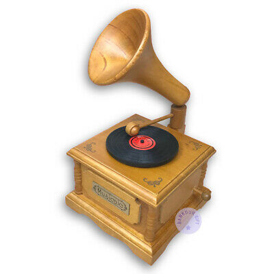 """Play """"Once Upon a December"""" Wooden Gramophone Music Box With Sankyo Movement"""