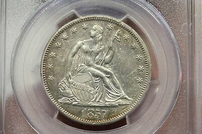 1857 SEATED LIBERTY HALF DOLLAR 50C SILVER  PCGS AU Details