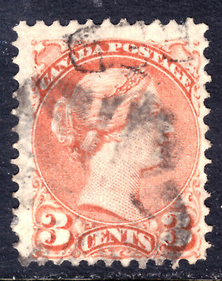CANADA LACELLE-1510 FANCY CORK on #37c 3c DULL RED, 1872 SQ, F