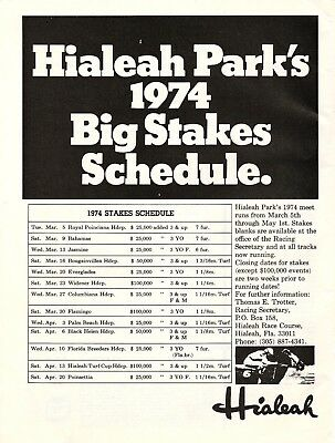 1974 HIALEAH PARK BIG STAKES SCHEDULE Print Ad Horse Racing