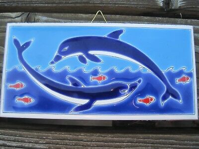 Vintage Greek Tile Dolphins Hand Made in Greece Wall Hanging Ceramic Fish Ocean