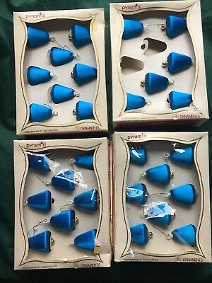 Vintage Pyramid Satin Ball Bell Royal Blue Lot/30 Boxed Must Read Color Info