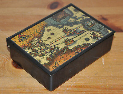 Vintage Black Metal Hinged Box Old World Map Made In Japan Approx 12cm Long