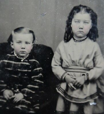 Antique Tintype Photo Portrait Young Toddler Brother Sister Children