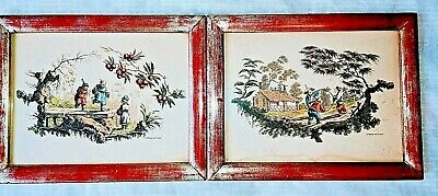 Vtg BORGHESE Chinese Pictures Prints Pair Asian Children Playing Framed