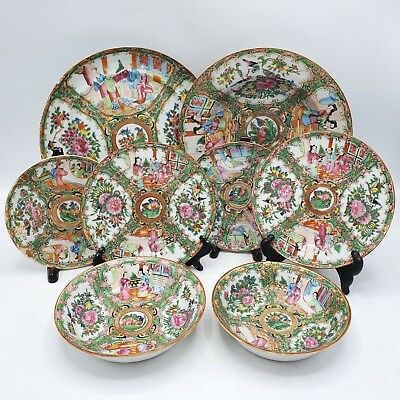Large Lot of 8 Antique Chinese Famille Rose Medallion Plates, Tea Saucers & Bowl